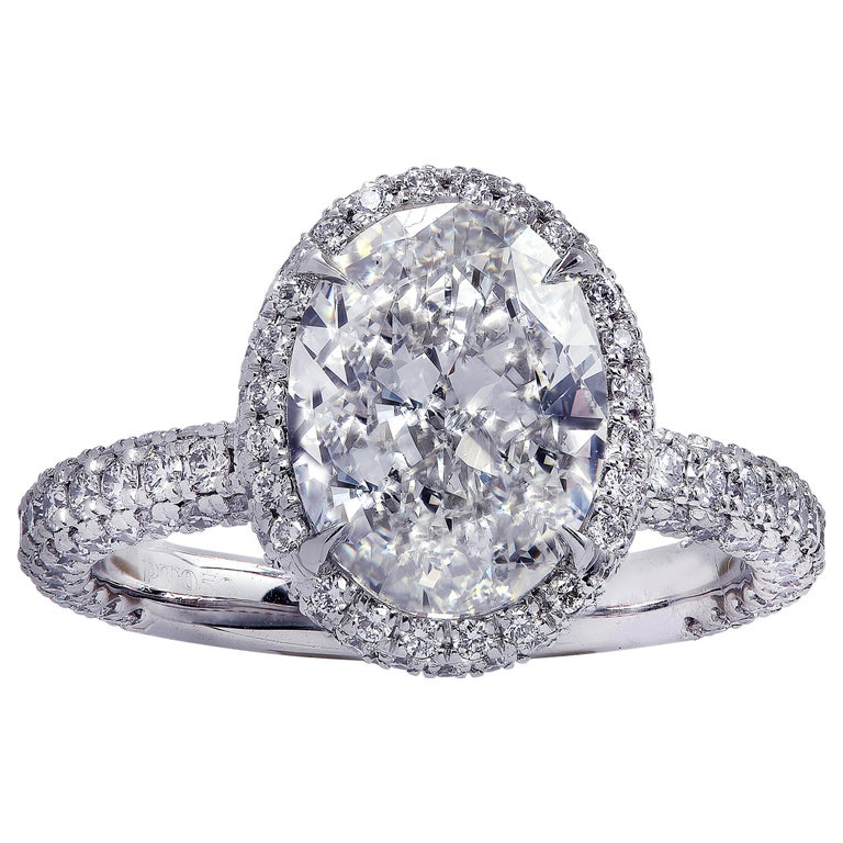 Vivid Diamonds GIA Certified 2.50 Carat Diamond Halo Engagement Ring
