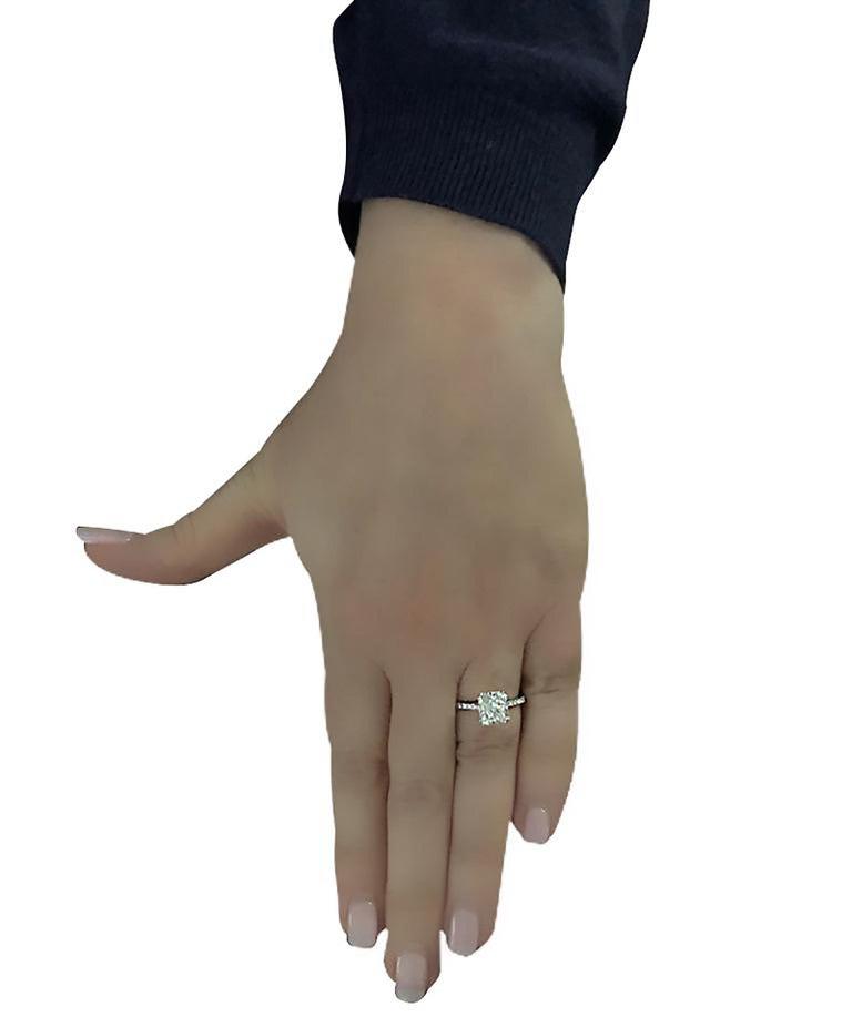 Modern Vivid Diamonds GIA Certified 2.52 Carat Cushion Cut Engagement Ring