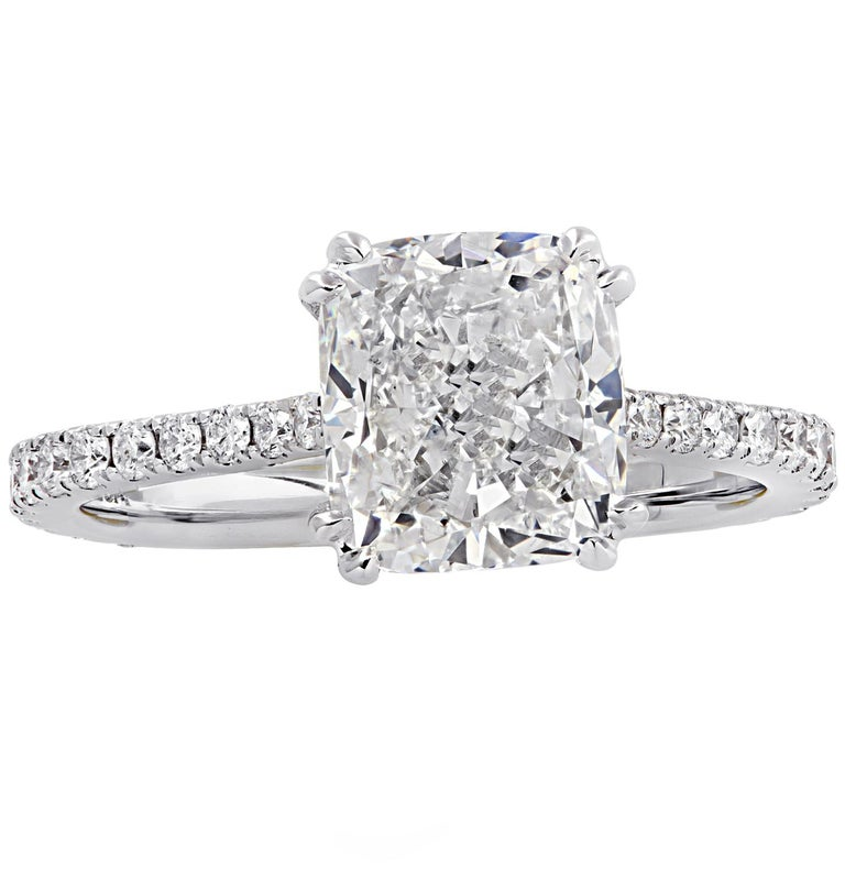 Vivid Diamonds GIA Certified 2.52 Carat Cushion Cut Engagement Ring In New Condition In Miami, FL