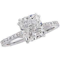 Vivid Diamonds GIA Certified 2.52 Carat Cushion Cut Engagement Ring