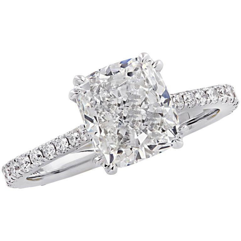 Vivid Diamonds GIA Certified 2.52 Carat Cushion Cut Engagement Ring