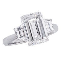 Vivid Diamonds GIA Certified 2.90 Carat Emerald Cut Diamond Engagement Ring
