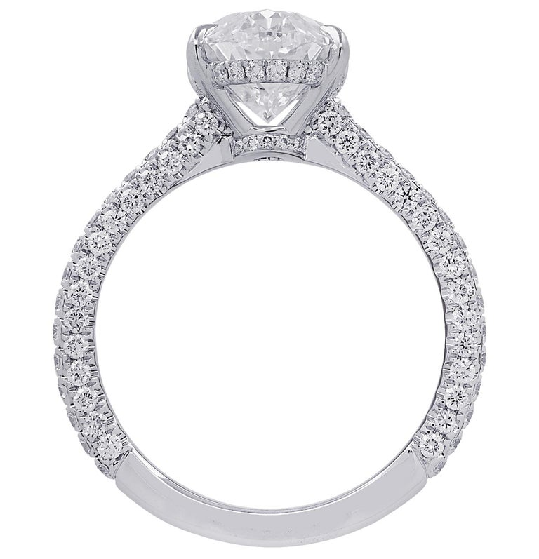 Oval Cut Vivid Diamonds GIA Certified 3.28 Carat Diamond Engagement Ring For Sale