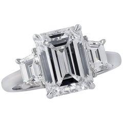 Vivid Diamonds GIA Certified 3.37 Carat Emerald Cut Engagement Ring