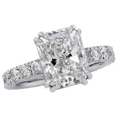Vivid Diamonds GIA Certified 3.59 Carat Radiant Cut Diamond Engagement Ring