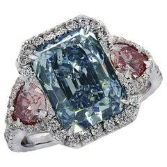 Vivid Diamonds GIA Certified 3.93 Carat Fancy Blue & Pink Diamond Ring