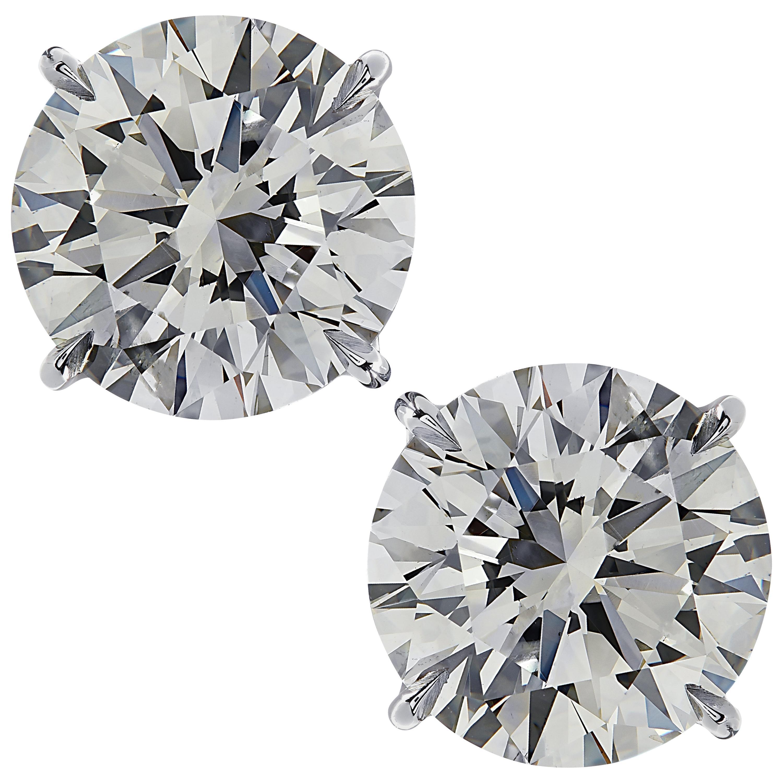 Vivid Diamonds GIA Certified 4.01 Carat Diamond Solitaire Stud Earrings