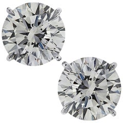 Vivid Diamonds GIA Certified 4.01 Carat Diamond Solitaire Stud Earrings