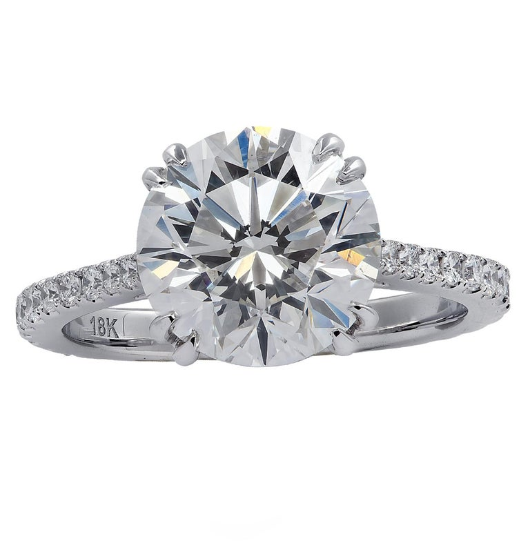 Round Cut Vivid Diamonds GIA Certified 4.02 Carat Diamond Engagement Ring For Sale
