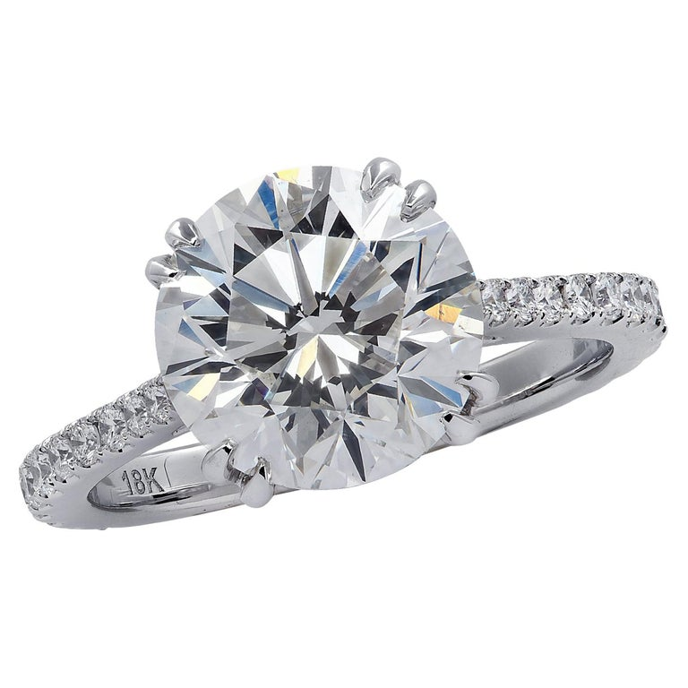 Vivid Diamonds GIA Certified 4.02 Carat Diamond Engagement Ring For Sale