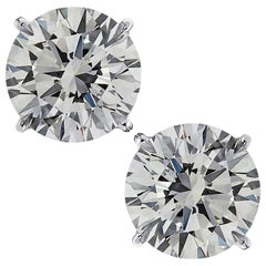 Vivid Diamonds GIA Certified 4.02 Carat Diamond Stud Earrings