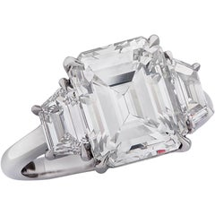 Vivid Diamonds GIA Certified 4.32 Carat Emerald Cut Diamond Engagement Ring
