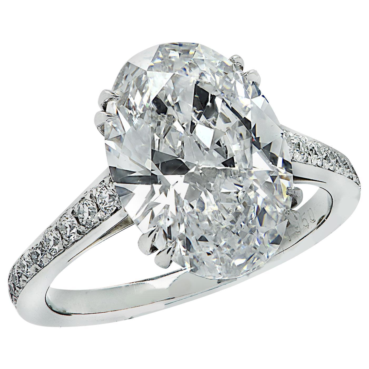 Vivid Diamonds GIA Certified 4.63 Carat Oval Diamond Engagement Ring