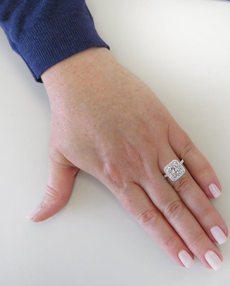 Women's Vivid Diamonds GIA Certified 4.66 Carat Cushion Cut Diamond Engagement Ring For Sale