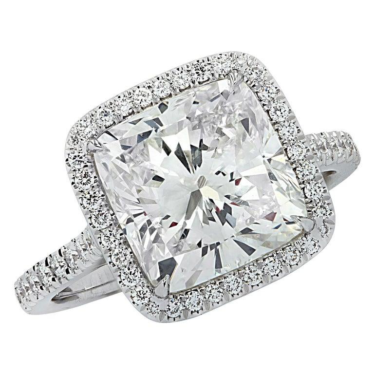 Vivid Diamonds GIA Certified 4.66 Carat Cushion Cut Diamond Engagement Ring For Sale