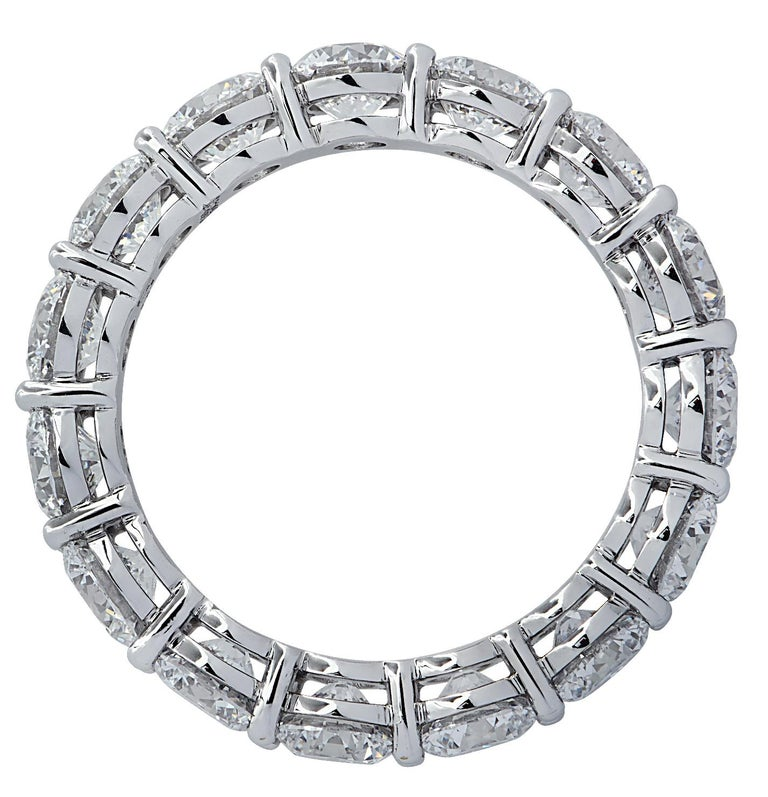 Modern Vivid Diamonds GIA Certified 4.68 Carat Diamond Eternity Band For Sale