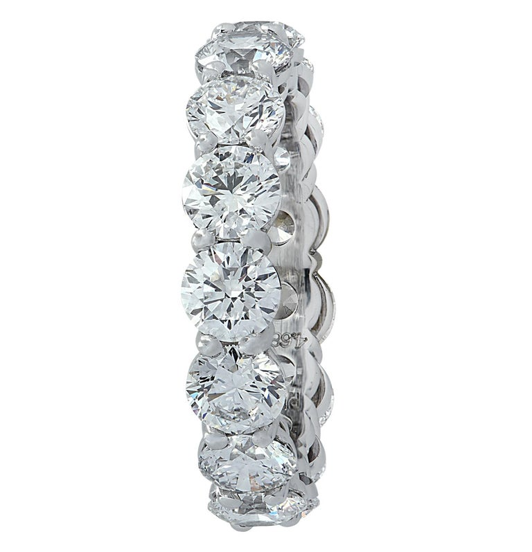 Round Cut Vivid Diamonds GIA Certified 4.68 Carat Diamond Eternity Band For Sale
