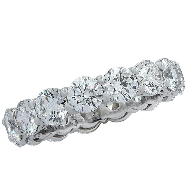 Women's Vivid Diamonds GIA Certified 4.68 Carat Diamond Eternity Band For Sale