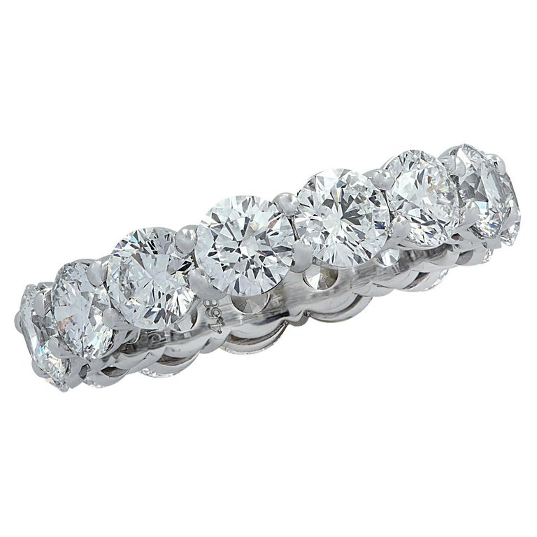 Vivid Diamonds GIA Certified 4.68 Carat Diamond Eternity Band For Sale