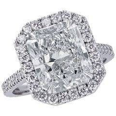 Vivid Diamonds GIA Certified 4.83 Carat Diamond Halo Engagement Ring