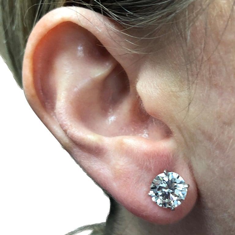 Round Cut Vivid Diamonds GIA Certified 5 Carat Diamond Stud Earrings For Sale