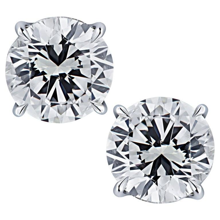 Vivid Diamonds GIA Certified 5 Carat Diamond Stud Earrings For Sale
