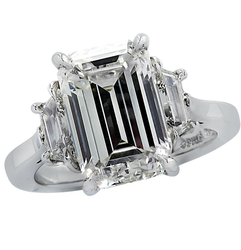 Women's Vivid Diamonds GIA Certified 5 Carat Emerald Cut Engagement Ring For Sale
