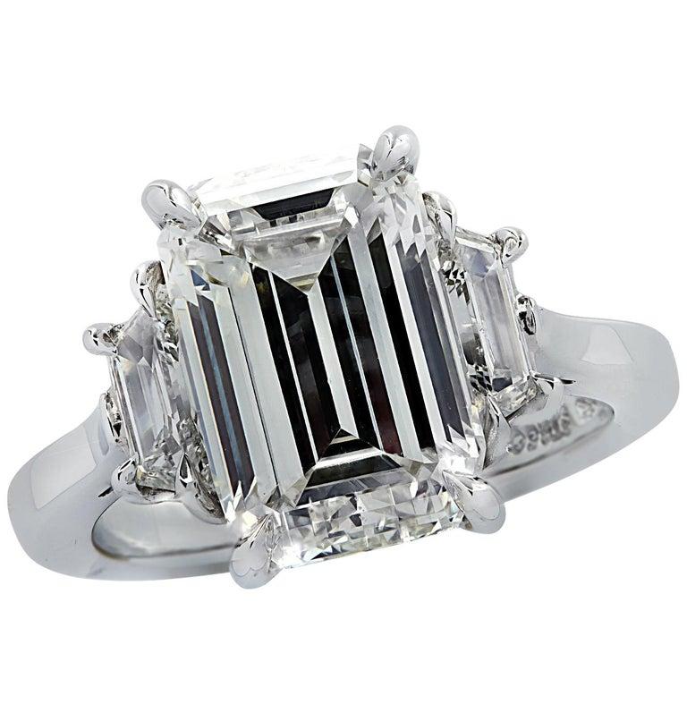 Vivid Diamonds GIA Certified 5 Carat Emerald Cut Engagement Ring For Sale