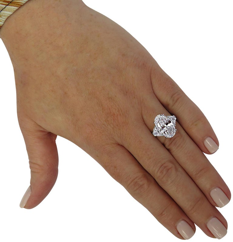Oval Cut Vivid Diamonds GIA Certified 5.13 Carat Oval Diamond Engagement Ring For Sale