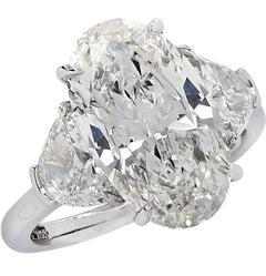 Vivid Diamonds GIA Certified 5.13 Carat Oval Diamond Engagement Ring
