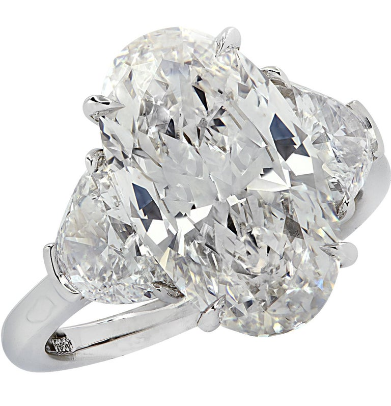 Vivid Diamonds GIA Certified 5.13 Carat Oval Diamond Engagement Ring For Sale