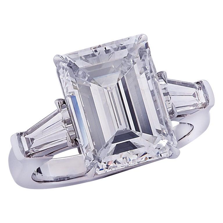 5.38-carat emerald-cut diamond engagement ring, 2020
