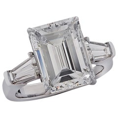 Vivid Diamonds GIA Certified 5.38 Carat Emerald Cut Diamond Engagement Ring