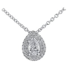 Vivid Diamonds GIA Certified .59 Carat Pear Shape Double Halo Diamond Necklace