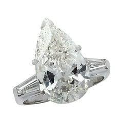 Vivid Diamonds GIA Certified 5.93 Carat Pear Shape Diamond Engagement Ring