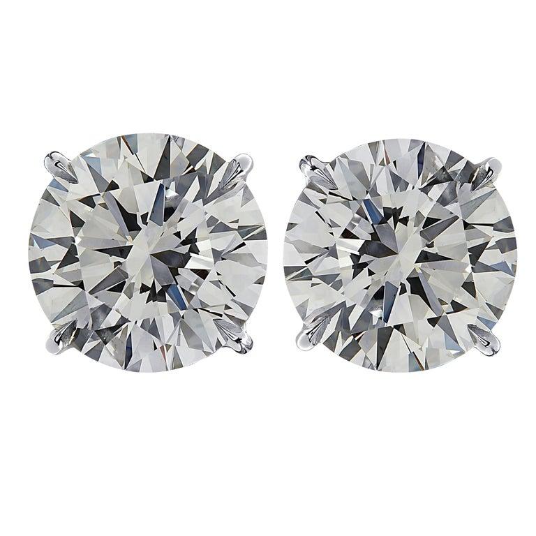 Round Cut Vivid Diamonds GIA Certified 6.10 Carat Diamond Stud Earrings