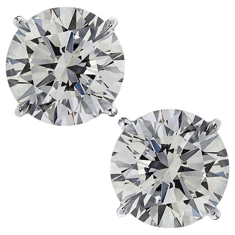 Vivid Diamonds GIA Certified 6.10 Carat Diamond Stud Earrings