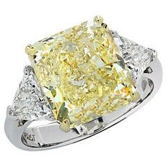 Vivid Diamonds GIA Certified 6.42 Carat Fancy Yellow Diamond Engagement Ring