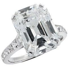 Vivid Diamonds GIA Certified 7.23 Carat Emerald Cut Diamond Engagement Ring
