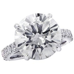 Vivid Diamonds GIA Certified 7.61 Carat Diamond Platinum Engagement Ring
