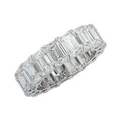 Vivid Diamonds GIA Certified 7.73 Carat Emerald Cut Diamond Eternity Band