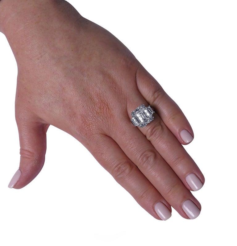 Modern Vivid Diamonds GIA Certified 8.57 Carat Emerald Cut Diamond Engagement Ring For Sale