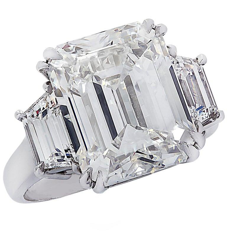 Women's Vivid Diamonds GIA Certified 8.57 Carat Emerald Cut Diamond Engagement Ring For Sale