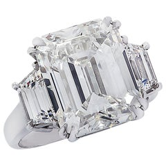 Vivid Diamonds GIA Certified 8.57 Carat Emerald Cut Diamond Engagement Ring