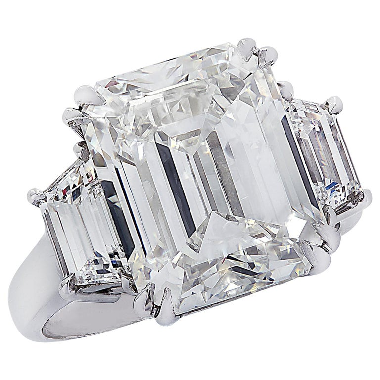 Vivid Diamonds GIA Certified 8.57 Carat Emerald Cut Diamond Engagement Ring For Sale