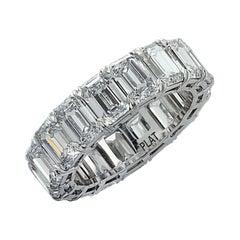 Vivid Diamonds GIA Certified 8.63 Carat Emerald Cut Diamond Eternity Band
