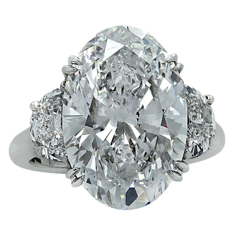 Women's Vivid Diamonds GIA Certified 8.87 Carat Oval Diamond Engagement Ring For Sale