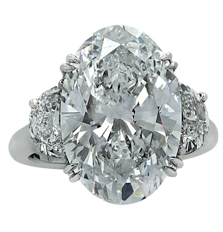 Oval Cut Vivid Diamonds GIA Certified 9.03 Carat Oval Diamond Engagement Ring For Sale