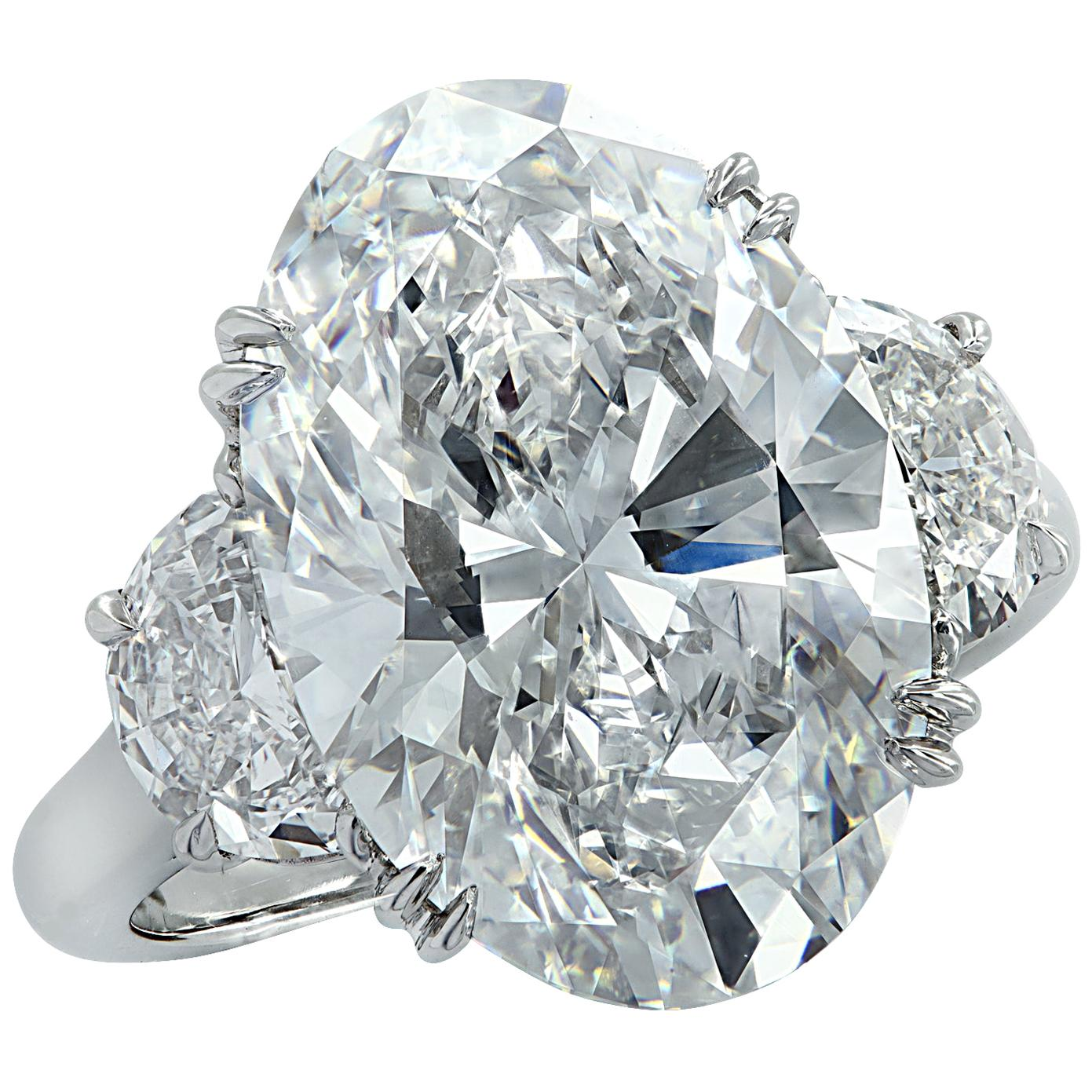 Vivid Diamonds GIA Certified 9.03 Carat Oval Diamond Engagement Ring