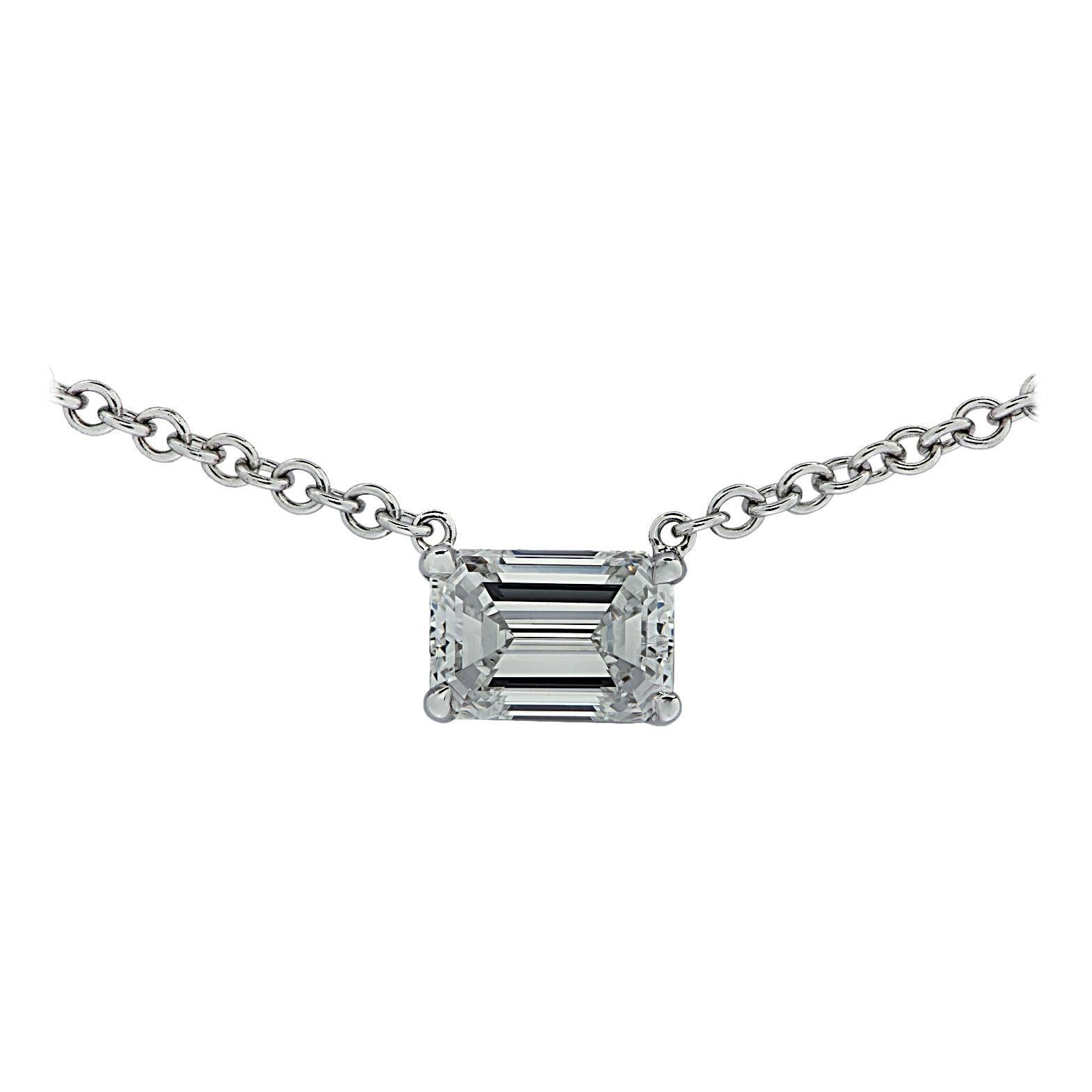 Vivid Diamonds GIA Certified .93 Carat Emerald Cut Diamond Necklace